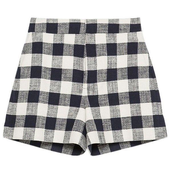 Pre-owned Zara Navy Blue Navy White Check Plaid Gingham High Waist... (105 CAD) ❤ liked on Polyvore featuring shorts, bottoms, dresses, short, navy blue, checked shorts, high waisted shorts, plaid shorts, checkered shorts and tartan shorts