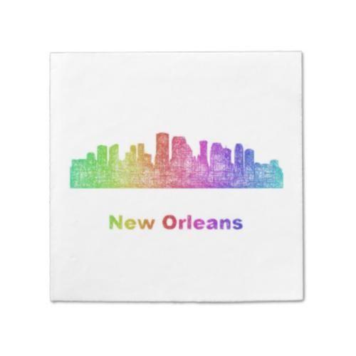 Rainbow New Orleans skyline Paper Napkin $69.55 *** new orleans - new orleans louisiana - new orleans skyline - louisiana - rainbow - city - skyline - color - cityscape - downtown - new orleans la - silhouette - contour - landmarks - skyscrapers - art - line - curved - usa - paper napkin
