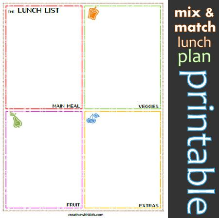 Write ideas and then pack one food from each square!: Easy Lunches, Meals Plans Printable, Lunches Meals, Kids Lunches, Schools Lunches, Lunches Ideas, Meal Planning Printable, Writing Ideas, Kids Food