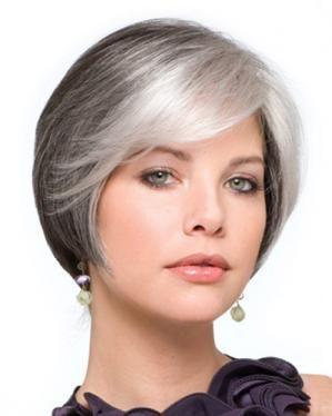 side swept bangs with gray hair color, This just goes to show that you don't have to be old to be gray.