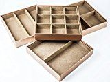 HUJI Stackable Jewelry Trays Organizer Storage Rings Earrings Bracelets Watches Necklaces (1 Camel Brown Stack-able Trays)