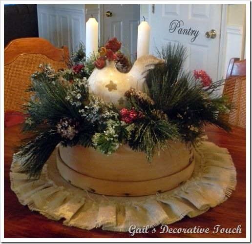 Cheese Box Centerpiece - could also use decorative cookie tin