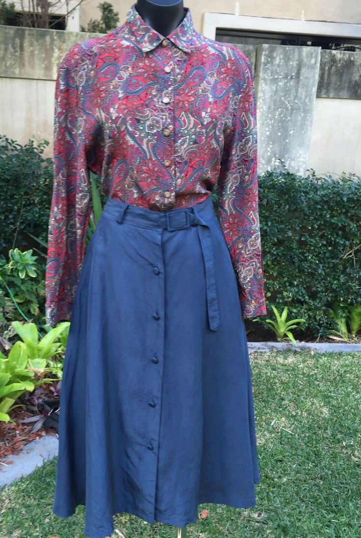 Vintage UK Kennington Ladies Silk Fully lined Gun Metal Blue Skirt Size 8 by PippiLime on Etsy