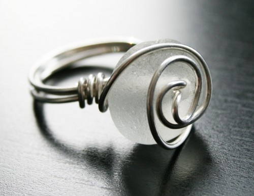 Sea glass and wire ring