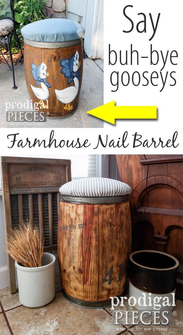 Farmhouse Nail Barrel Stool Prodigal Pieces Handmade Home Decor Barrel Decor Upcycled Home Decor