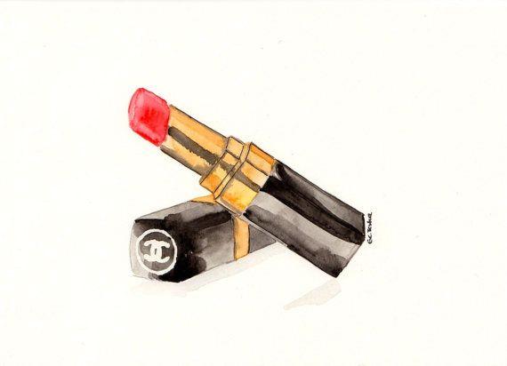 Chanel lipstick Watercolor MakeUp illustration by MilkFoam on Etsy, $35.00