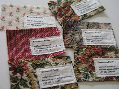 Hand sewn biz cards by Francesca Pasini!