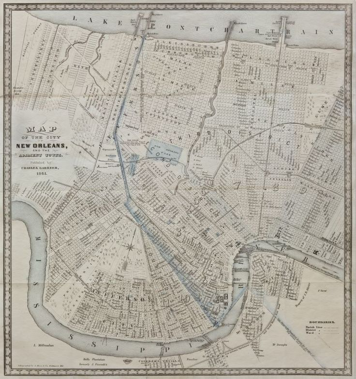 8 best cities we love new orleans images on pinterest antique map of the city of new orleans and the adjacent towns charles gardner sciox Gallery