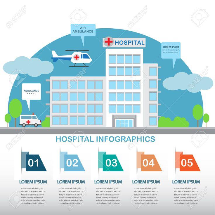 плоский дизайн здание больницы с шаблонами инфографики элементов. Автомобиль скорой помощи и воздух. Клипарты, векторы, и Набор Иллюстраций Без Оплаты Отчислений. Image 41789002.