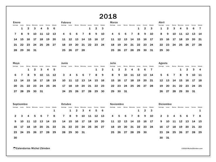 Gratis! Calendarios para  2018 para imprimir - Venezuela