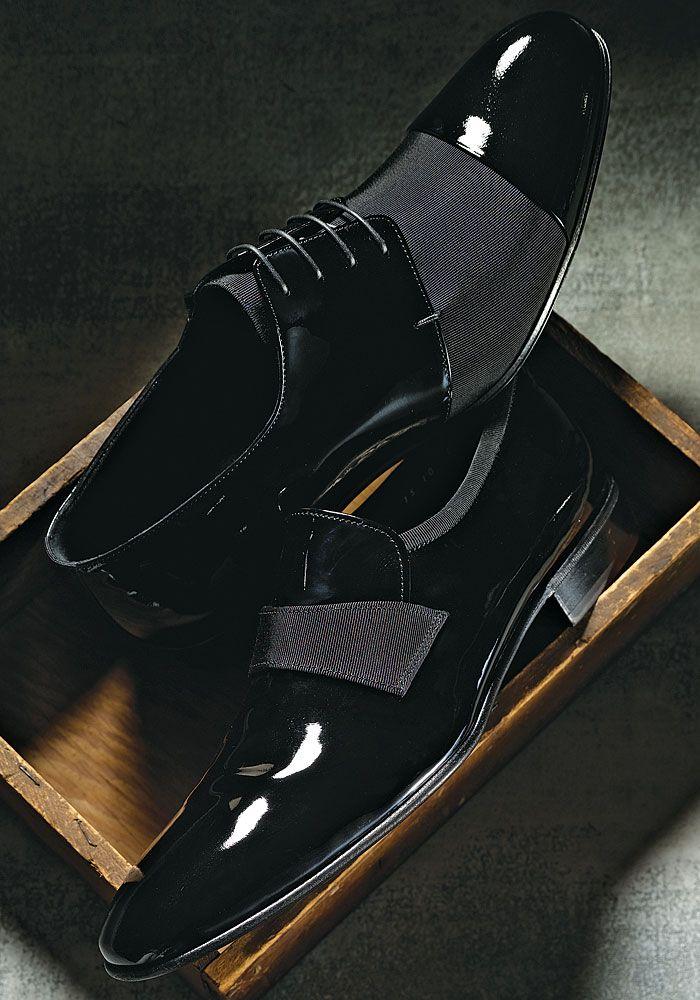 Giorgio Armani patent shoe with grosgrain trim
