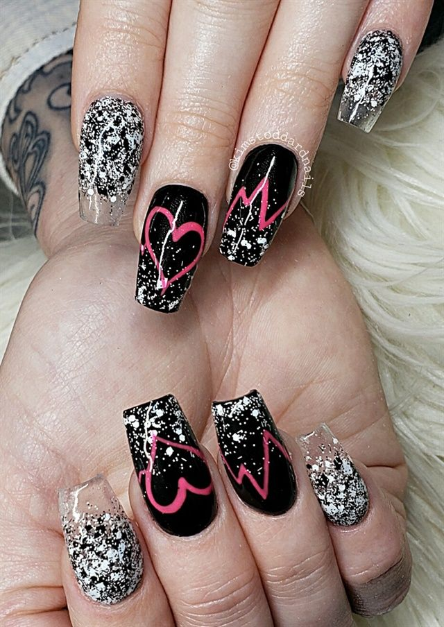 Day 37 Heartbeat Nail Art Best Nail Art Designs Valentine Nail
