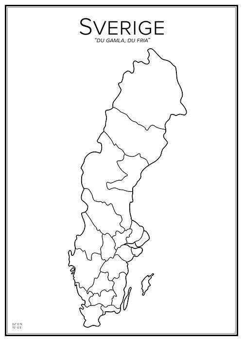 Sweden. Map. City print. Print. Affisch. Tavla.