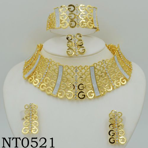 Big Nigerian Wedding African Beads Jewelry Sets Crystal Fashion  Dubai Gold Plated Jewelry Sets  For Women Costume Design