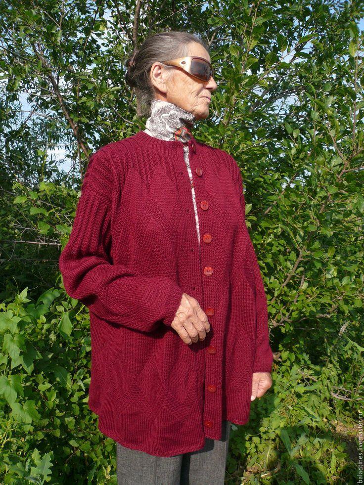 Купить Пальто вязаное спицами Cherry berry из шерсти двухстороннее женское - пальто, пальто вязаное
