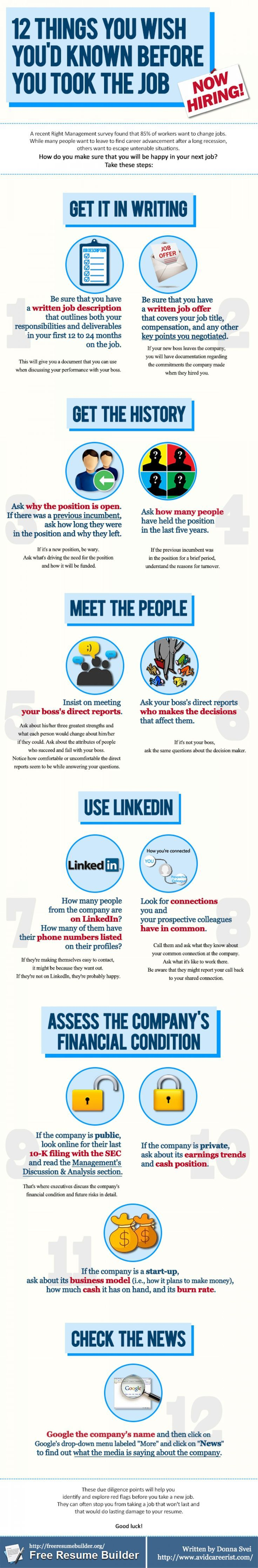 12 Things You Wish Youu0027d Known Before You Took That Job Infographic