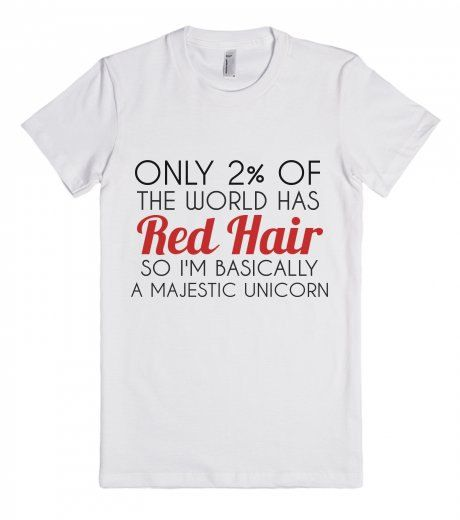 Red hair Majestic Unicorn Shirt 100% cotton t-shirt has a juniors / very small fit. The medium-lightweight jersey fabric is made of ultra-soft combed cotton. Sizes:
