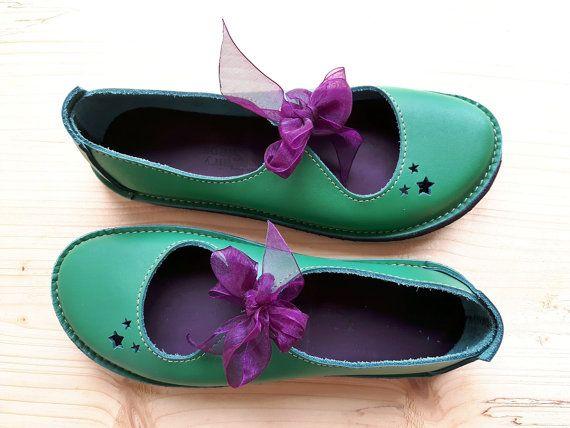 SALE. UK 4, Handmade Ladies Shoes, Fairytale, LUNA Shoes 3030 emerald green