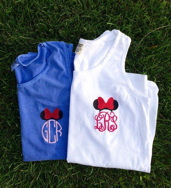 NEW COLORS! Minnie Mouse Monogram Comfort Colors Tank