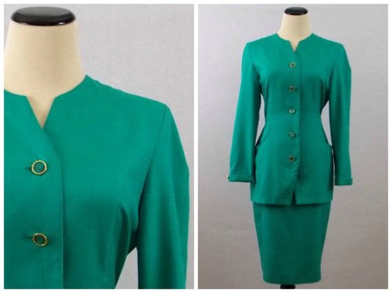 ★★★ New Arrival ★★★ #VINTAGE #ETSY #1980s Teal Green Suit Designed by Princess Diana  by TheBirdcageVintage