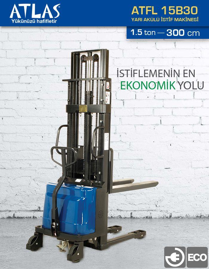 Yarı akülü istif makinası 1,5 ton taşıma ve 300 cm kaldırma kapasitelidir. Yarı akülü istif makinası 2 yıl garantili yüksek kalite standartlarında üretilmiş istif aracıdır. http://www.ozkardeslermakina.com/urun/yari-akulu-istif-makinasi-atlas-atfl15b30/ #istif_makinası #atlas #yarı_akülü_istif_makinası #akülü_istif_makinası #stacker #forklift #hırdavat #ucuz_enerji #depo