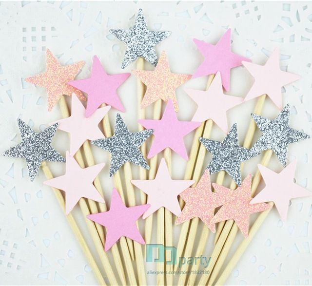 40pcs pink Glitter Star Cupcake Toppers pink Party Supplies Twinkle Little Star Party 1st Birthday Wedding New Years Eve Party