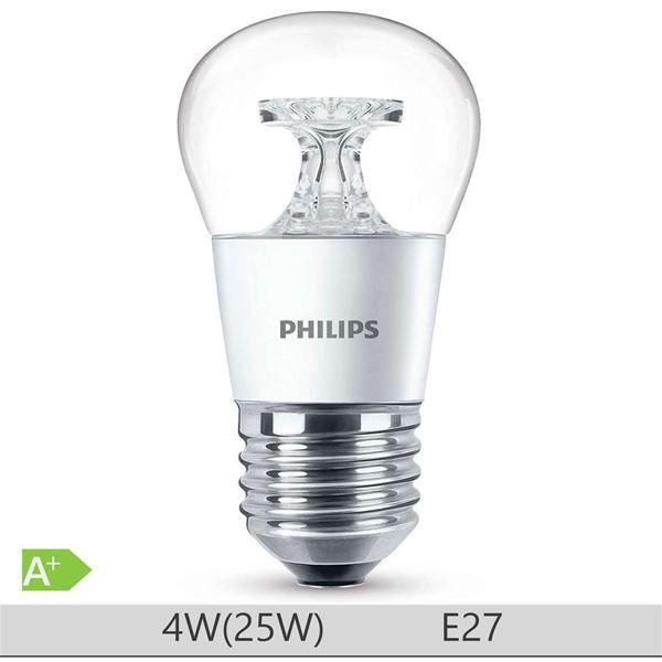 Bec LED Philips 4W E27, forma clasica P45, lumina calda http://www.etbm.ro/tag/148/becuri-led-e27