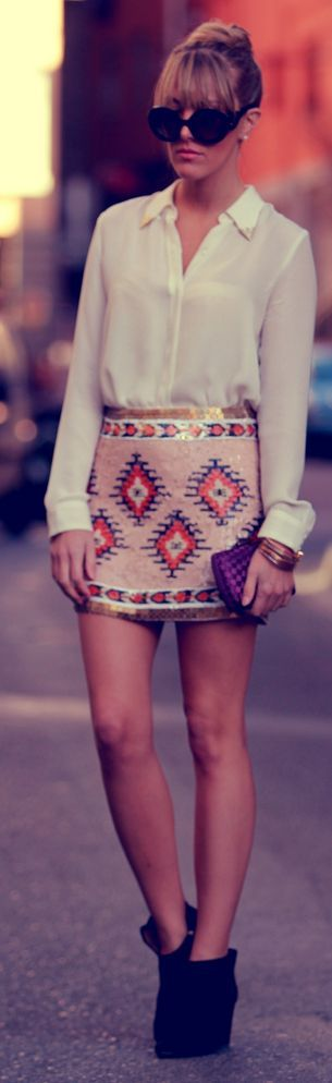 Aztec Sequin Skirt Outfit Idea by Style Lover