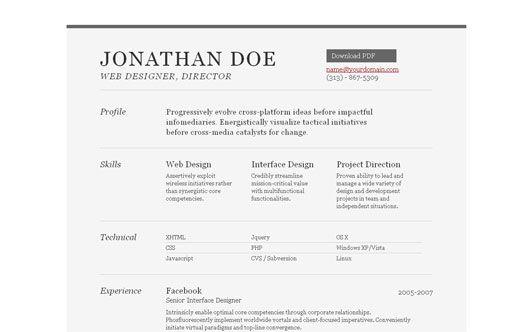 35 Best Online CV Resume Templates | Bashooka | Cool Graphic & Web ...