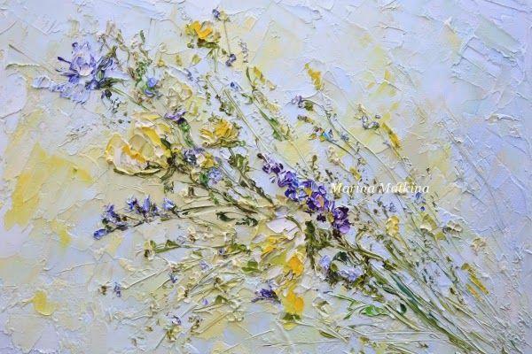 Маленький букет с полевыми цветами. Голубая картина. Марина Маткина. Импасто.