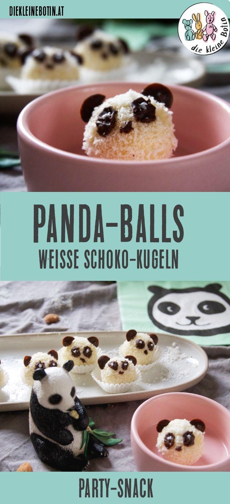 Viele mehr als Kekse: Die schnellen und einfachen Kokoskugeln mit weisser Schokolade sind schnell als Panda dekoriert. Toller Party-Snack. Silvesterparty Fasching Karneval Pralinen für jeden Anlass.  #rezept
