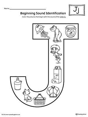 letter j beginning sound color pictures worksheet word family pinterest worksheets. Black Bedroom Furniture Sets. Home Design Ideas
