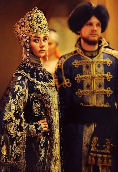 Traditional costumes of boyars, Russian medieval aristocrats.