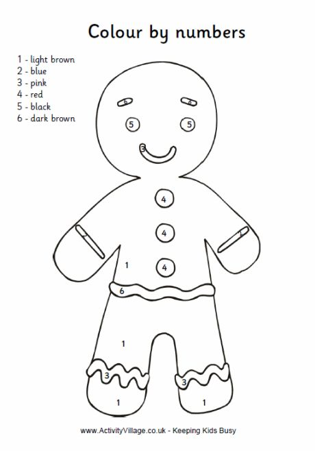Colour By Numbers Gingerbread Man