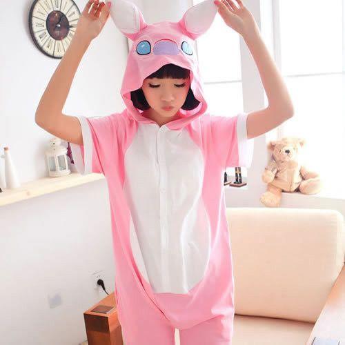 2016 Summer Short Sleeve Adult Pajama Sets Cosplay Cartoon Panda Stitch Onesies Lovely Animal Pajamas Party Women Pajama