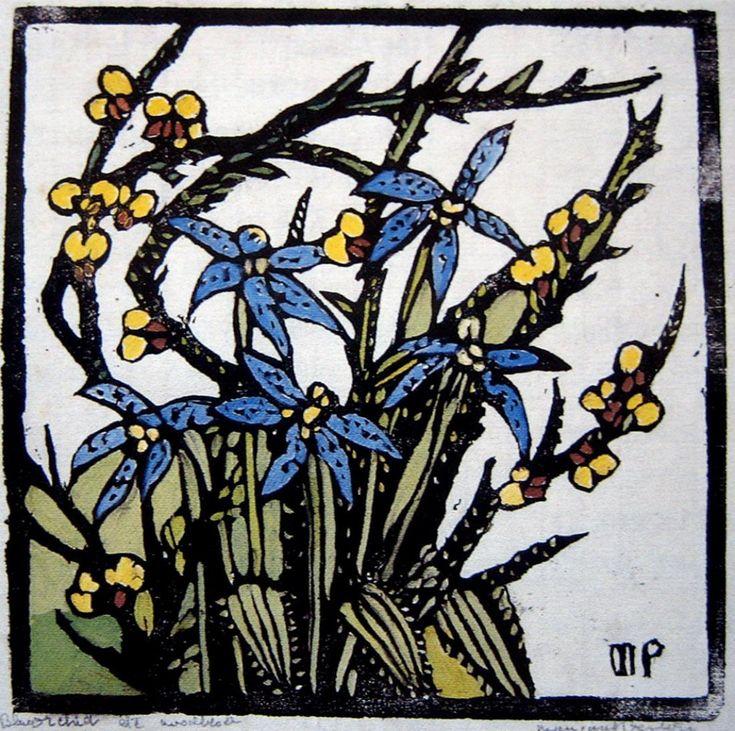 Nsw Orchid Woodblock, 19 x 19 cm by Margaret Rose (MacPherson) Preston (1875-1963) Australia