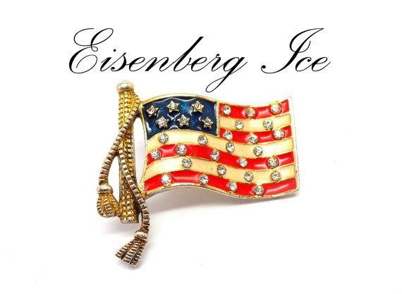 Eisenberg Ice Rhinestone American Flag Pin / Lapel Pin by MarlosMarvelousFinds, $24.99
