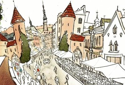 Travel sketchbook of Estonia during the world sketching tour. Mostly sketches done with watercolor on location. Autor: Luis Simoes
