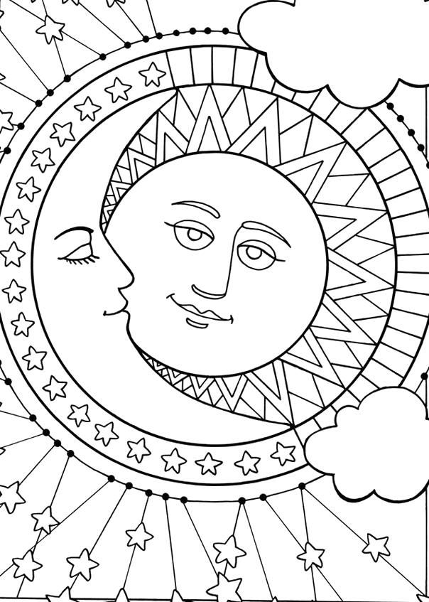 Celestial Moon Coloring Pages For Adults - colouring ... |Moon Mermaid Coloring Pages