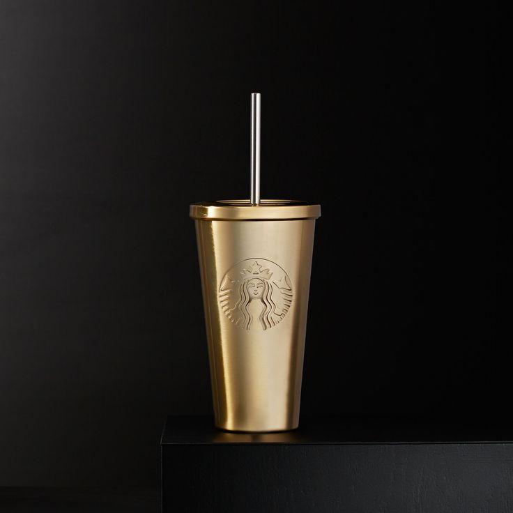 Starbucks Cold Cup In Gold Copo Starbucks Copo Tumblr E