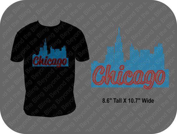 Chicago skyline rhinestone bling shirt by BeyondtheBlingUSA, $26.50