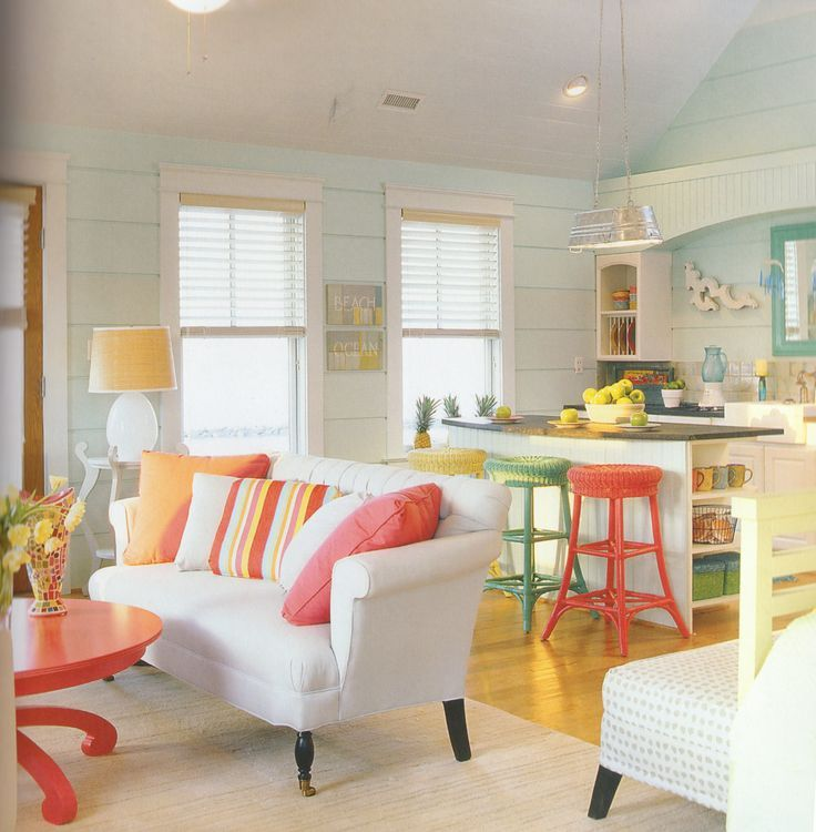 Coastal Living Room With Pops Of CoralThis From A Mag At Least 5 Yrs Ago And I Still LOVE Ittore The Pic Out Magazine