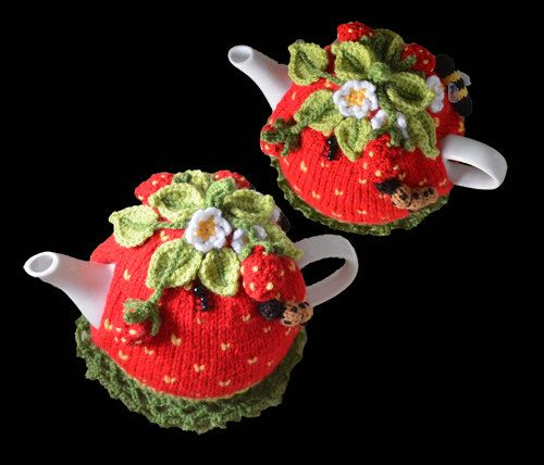 Quick & easy to make this 4-6-cup Tea Pot Cosy, called Strawberry Field Tea Cosy Pattern  Not only make it for yourself, but what a lovely birthday or