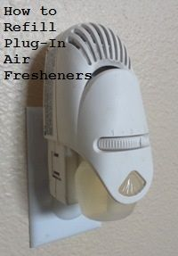 How to Refill Plug-in Air Fresheners  by Rachel Paxton    I am always looking for ways to save money on household cleaning products. I also want my home to smell clean and fresh, and I love using candles and plug-in air fresheners. When you have them in several rooms of your home, however, the cost can add up quickly. Then I discovered you can actually REFILL many plug-in air fresheners!