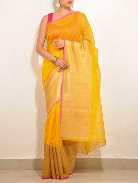 Yellow Barfi Kota-Silk Saree