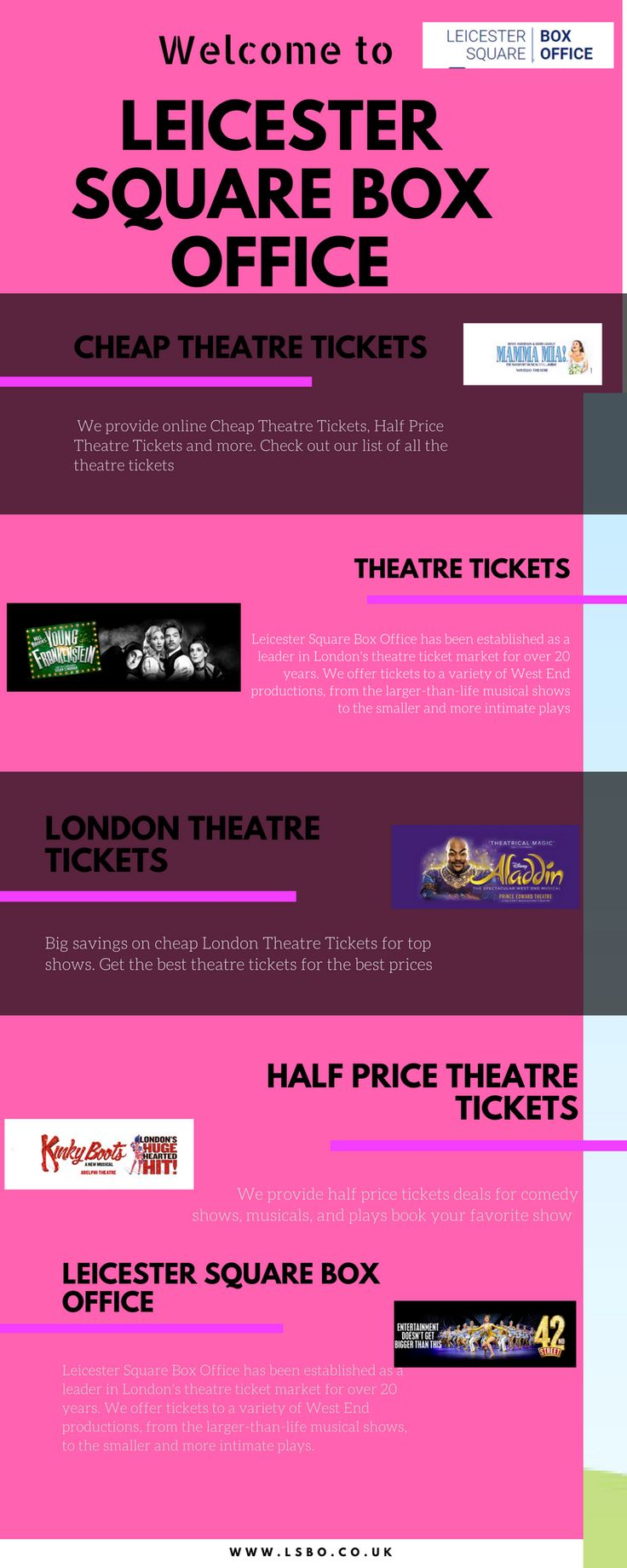 Get London theatre tickets for a wide range West End musicals and plays. get the perfect show and book official London tickets to plan your next theatre trip. For more information: http://www.lsbo.co.uk/
