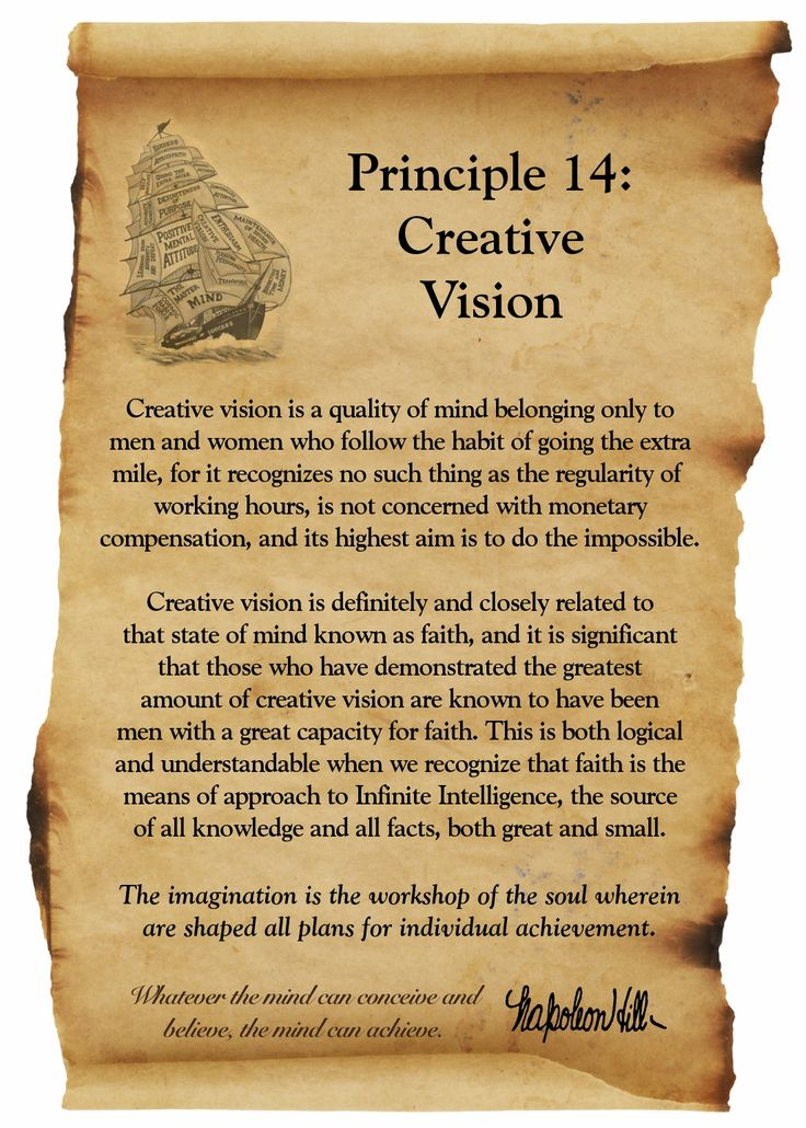 Think and Grow Rich Principle 14: Creative Vision