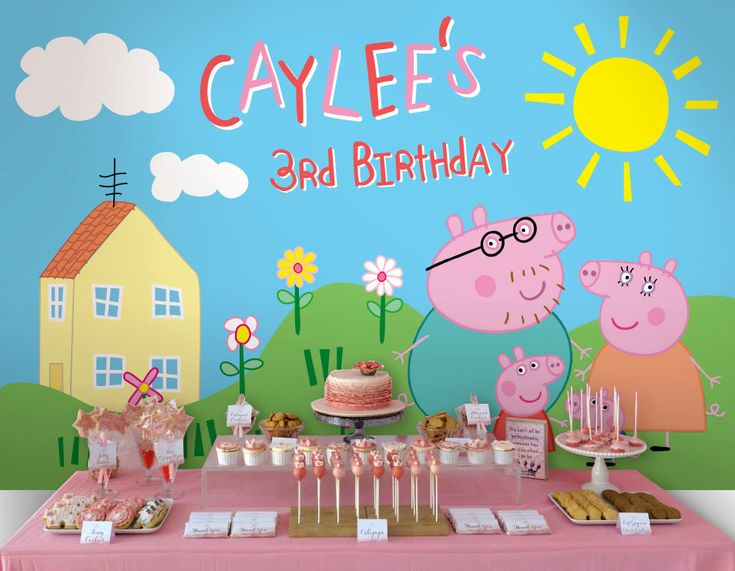 Peppa Pig Printable Birthday Decorations ~ Printable backdrop peppa pig party collection by