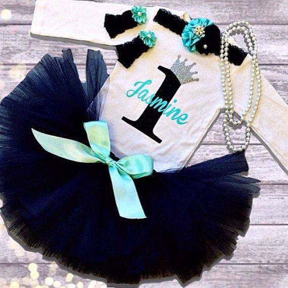 This Breakfast at Tiffanys Birthday Tutu Outfit set is so adorable and perfect for any little Audrey Hepburn! This outfit can be made for