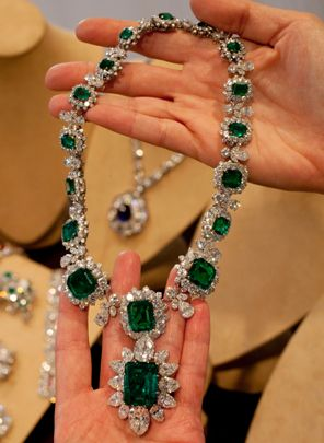 Elizabeth Taylor's emerald and diamond necklace and pendant, attached at the bottom, part of a suite by Bulgari, a gift of Richard Burton, are shown in this photograph at Christie's in New York, Thursday, Sept. 1, 2011